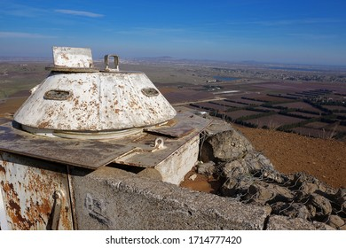 Abandoned Army Outpost at Golan Heights, Israel.   Israel and Syria are separated by a demilitarized zone in the valley below.