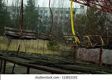 Abandoned attraction in Pripyat, Chernobyl zone, Ukraine