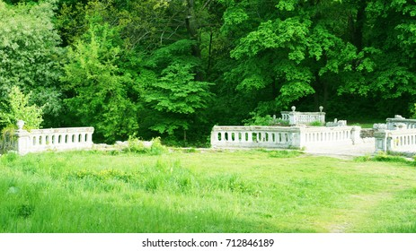Abandoned baroque terrace in the castle park