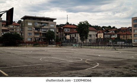 Abandoned basketball court in the outskirts of Gotse Delchev, Bulgaria.