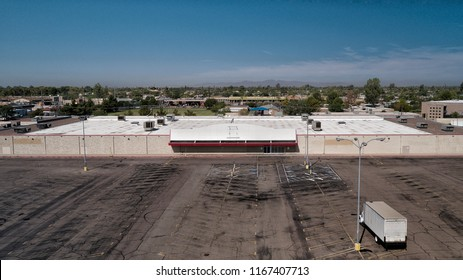 Abandoned big box Superstore aerial view