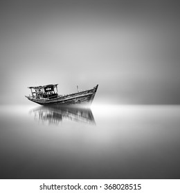 abandoned boat in black and white / fine art