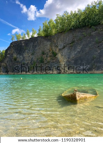 Abandoned Boat Flooded Quarry Blue Crystal Stock Photo (Edit Now