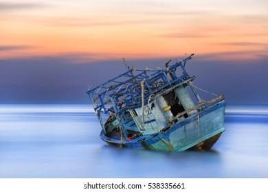 abandoned boat at nathon beach ko samui thailand.