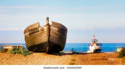 Abandoned Boat Wreck on the Beach at the Dungeness Headland, Kent, England