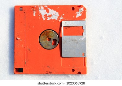 abandoned broken floppy disk display