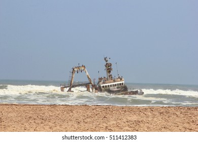 Abandoned broken shipwreck in Atlantic ocean, Henties Bay, Skeleton Coast, Namibia