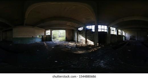 Abandoned building 360 spherical panorama