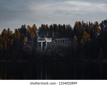 Abandoned building in forest.