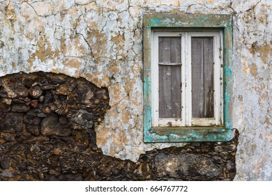 Abandoned building on the northern coast of Sao Miguel island, archipelago of the Azores in the Atlantic Ocean belonging to Portugal