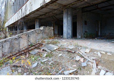 """Abandoned building of Palace of Culture """"Energetik"""", ghost town Pripyat in Chernobyl NPP alienation zone, Ukraine"""