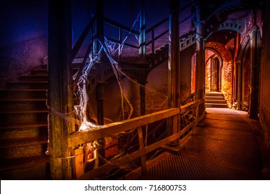 Abandoned building. Spiral staircase. Halloween