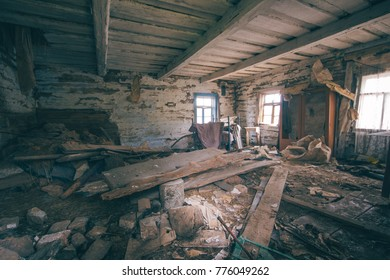 Abandoned building in the zone of radioactive contamination. Exclusion Zone. Zone of resettlement.