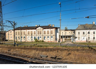 Abandoned buildings along railroad in Poland