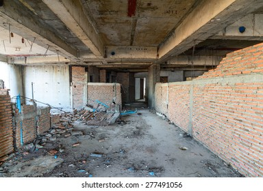 Abandoned buildings interior.