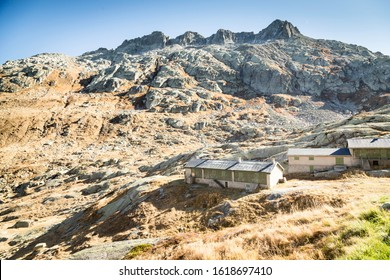 abandoned buildings of a mountain village on the Lago di Lucendo