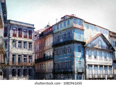 Abandoned buildings in the old part of Porto, Portugal.