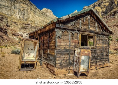 an abandoned cabin at the Lucky Strike Mine in the San Rafael Swell of Utah.
