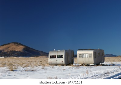 Abandoned campers, Eagle Nest, New Mexico, USA