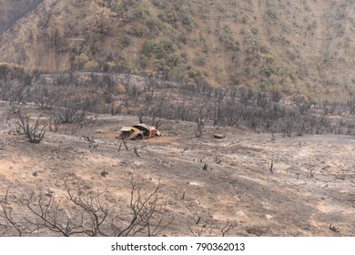 Abandoned car exposed by the Thomas Fire along Highway 33 in Ojai, California