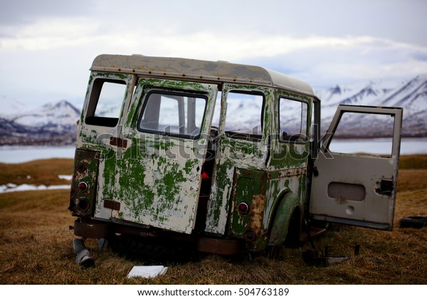 Abandoned car in iceland