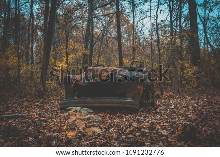 Abandoned Car Woods Stock Photo Edit Now 1091232776 Shutterstock