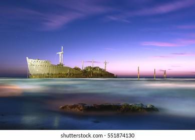 Abandoned Cargo Ship in Persian Gulf near Kish Island, Iran