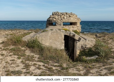 Abandoned casemate from second world war in Apulia region, Italy