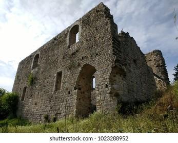 Abandoned castle in Rocca Sillena, Castell' Azzara, Amiata Mountain. Siena, Grosseto, Maremma, Tuscany, Italy. Daylight