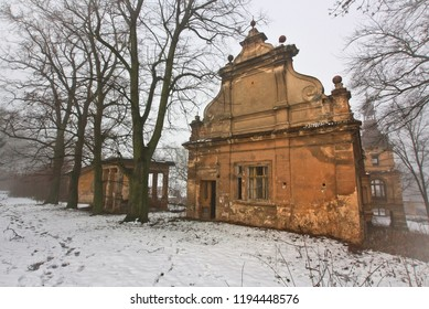 Abandoned castle with tower in the winter park in the Czech Republic
