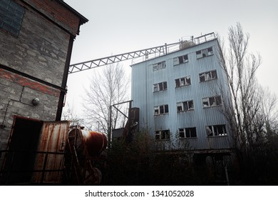 Abandoned cement factory near Chernobyl Nuclear Power Plant angle shot