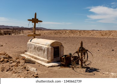 Abandoned Cemetery in the Atacama Desert, Northern Chile. From the era of nitrate mining