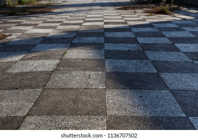 abandoned chess shaped road in abkhazia, gagra