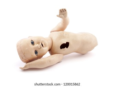 Abandoned child's baby doll with clipping path