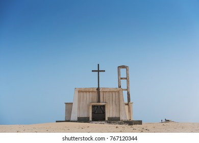 Abandoned church in Namibe, Angola. Typical Portuguese church of colonial times.