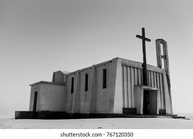 Abandoned church in Namibe, Angola. Typical Portuguese church of colonial times. Black and white version.