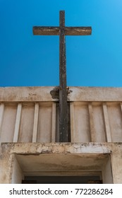 Abandoned church in the Namibe Desert. Angola, Church of the Portuguese colonial time.