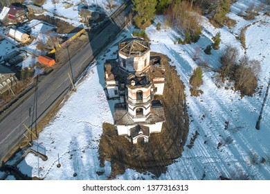 Abandoned Church of the Nativity in the village of Verkhruchey April day (aerial photography). Karelia. Russia