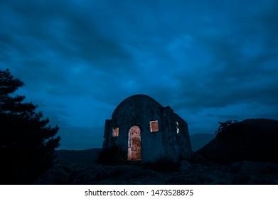 Abandoned church at night. Ghost town Kayakoy, Fethiye, Turkey. Abandoned Greek village in Lycian Way.