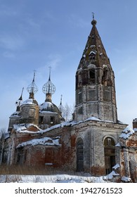 The abandoned Church of the Resurrection of Christ on a sunny winter day in village Ostrov, Yaroslavl Region, Russia - Shutterstock ID 1942761523