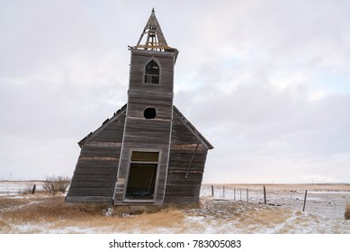 An abandoned church sits decaying and falling apart in the plains of northeast Montana in the ghost town of Dooley.