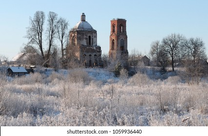 Abandoned Church in the village of Pogoreltsy, Tver region. Russia