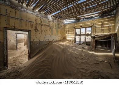 The abandoned city of Kolmanskop in Namibia