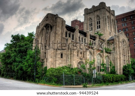 Abandoned City Methodist Church. Exterior view. Gary, Indiana.