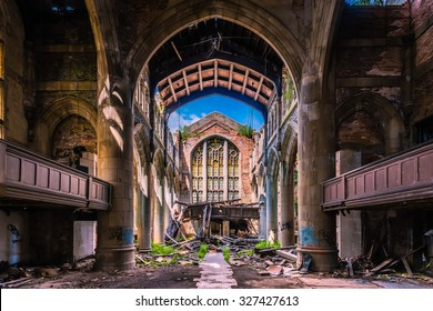 Abandoned City Methodist Church in Gary, Indiana.