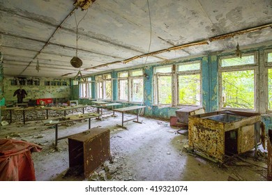 A abandoned classroom in a school of the Chernobyl exclusion zone.
