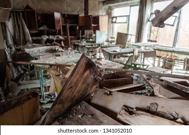 Abandoned Classroom in School number 5 of Pripyat, Chernobyl Exclusion Zone 2019 photo
