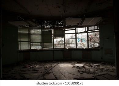 Abandoned classroom windows