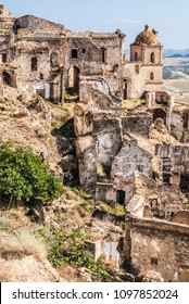 Abandoned collapsed town, ghost town, medieval town