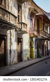 Abandoned colonial house in historic center of Cartagena, Colombia